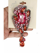 "4"" Tall Pink Rhinestones Vintage Inspired Statement Large Brooch Costume... - $16.10"