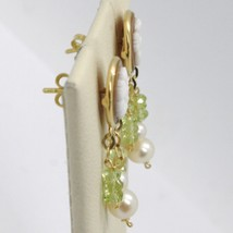 18K YELLOW GOLD EARRINGS, PERIDOT CIRCLE FLOWER CAMEO FINELY HANDMADE IN ITALY image 2