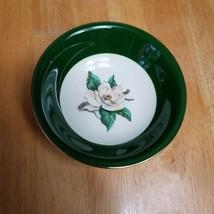 Homer Laughlin Lifetime China Jaderose Fruit Bowl Green Beige Flower Gold Trim - $3.95