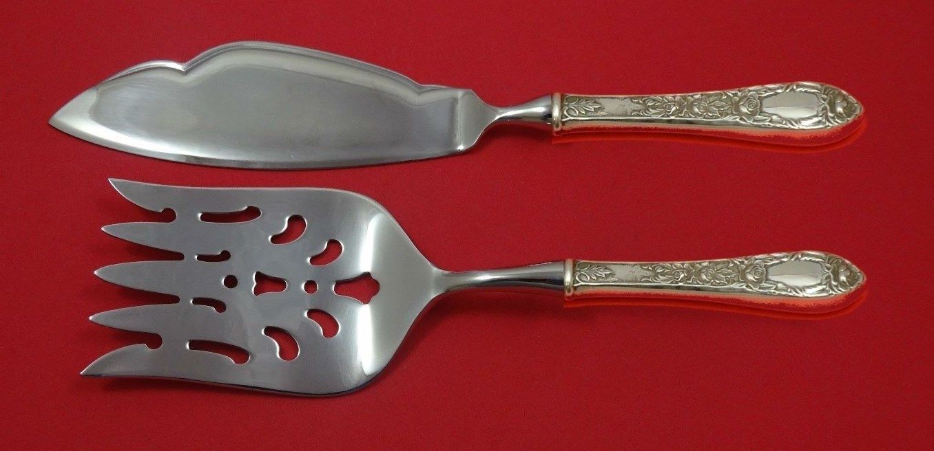 Primary image for Rose by Kirk Sterling Silver Fish Serving Set 2 Piece Custom Made HHWS