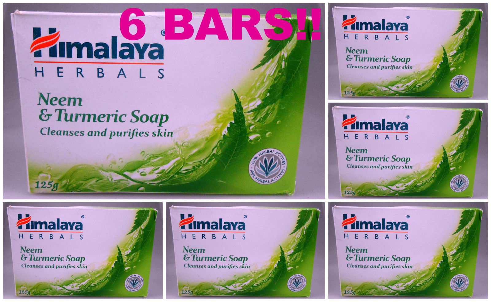 Primary image for 6 BARS! Himalaya Herbals Neem & Turmeric Soap Cleanses & Purifies Skin USA SELLR