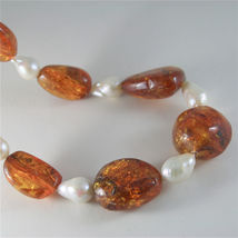 SOLID 18K YELLOW GOLD NECKLACE WITH DROP PEARLS AND BALTIC AMBER MADE IN ITALY image 3