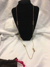 Kate Spade New York Ready Set Bow Gold Tone Necklace Bows Bling Long Jew... - $39.26
