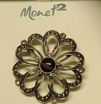 Monet 2 Brooch Pin Round Purple Tigers Eye And Rhinestones Gold Tone - $17.81