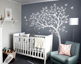 Large white tree wall decal set for baby nursery tree wall sticker tattoo KW032 - $74.26