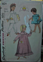 Vintage 50s Sewing Pattern Girls sz 6 Pajamas, Nightgown, Baby Doll Paja... - $7.99