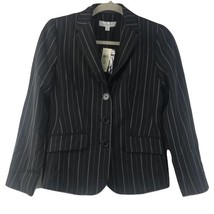 Ann Taylor Petites Black Striped Fitted Lined Career Blazer Jacket  0P P... - $39.58