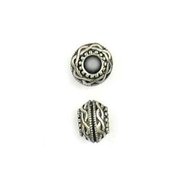 BRAIDED RIBBON DESIGN FINE PEWTER CAST BEAD - 5x8x8mm; Hole 3mm