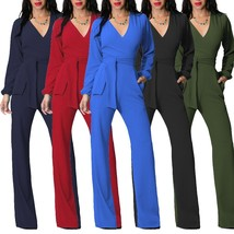 Women Fashion V Long Sleeve High Waisted Belted Flare Romper Jumpsuit - $34.68