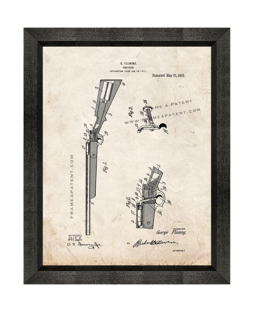 Shotgun Patent Print Old Look with Beveled Wood Frame - $24.95 - $109.95