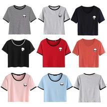 Women Summer Short Sleeve Tee Blouse Casual Crop Top Alien Printing T-Shirt S-XL