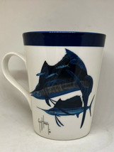"Guy Harvey Marling Fish Fishing Coffee Mug Blue White 3.75"" x 4.5"" Fishe... - $25.00"