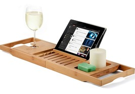 Bamboo Luxury Bathtub Caddy Tray with Extending Sides, Book and Wine Hol... - $754,59 MXN