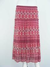 DANA BUCHMAN Skirt MultiColor Geometric Tiered LINED Peasant Long Sz XL ... - $29.58