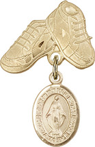 14K Gold Filled Baby Badge with Miraculous Charm and Baby Boots Pin 1 X 5/8 inch - $102.90