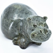 Hand Carved Zimbabwean Serpentine Stone Hippopotamus Hippo Sculpture Figurine image 2