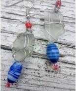 Festive Shores 3 earrings: Red white & blue, white Estonian sea glass, d... - $39.00