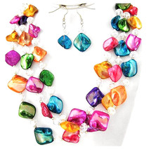 Stunning Crystal Shell Mother of Pearl Multicolor Rainbow Layered Necklace Set - $9.97