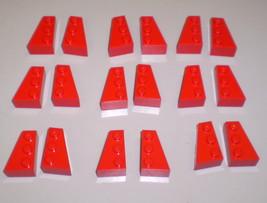 18 Used Lego 2 x 3 Red Triangular Wedges Slope Brick 6564 - 6565 - $3.25