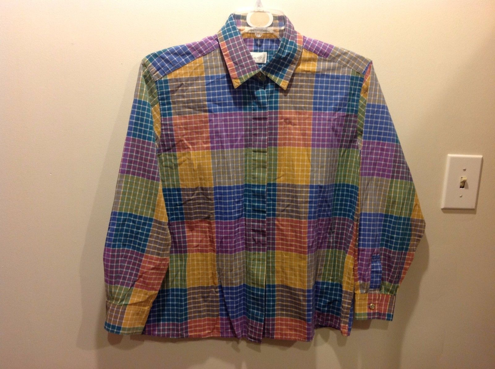 Foxcroft Colored Blocked Grid Pattern Button Up Top Blouse Sz 12