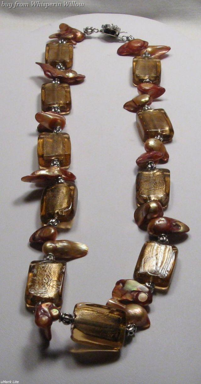 Primary image for Brown Sugar Colored Glazed Lampwork Necklace