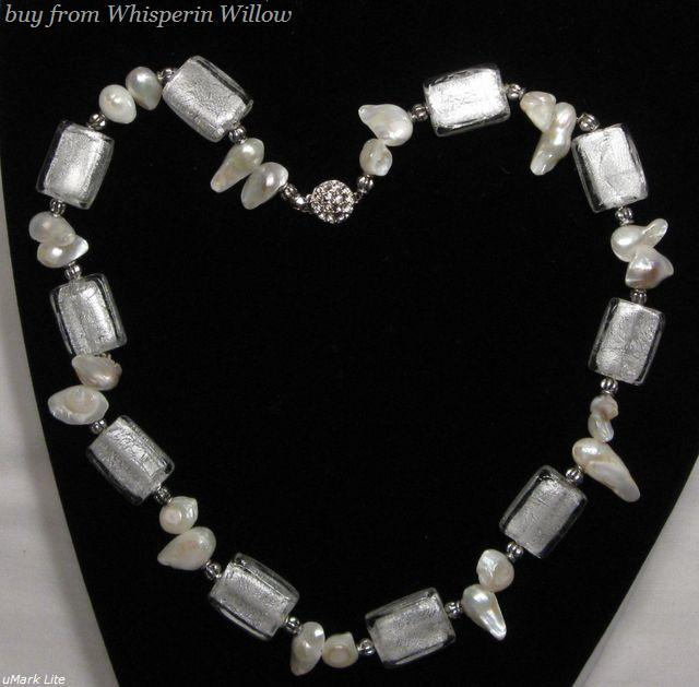 Primary image for White Colored Glazed Lampwork Necklace