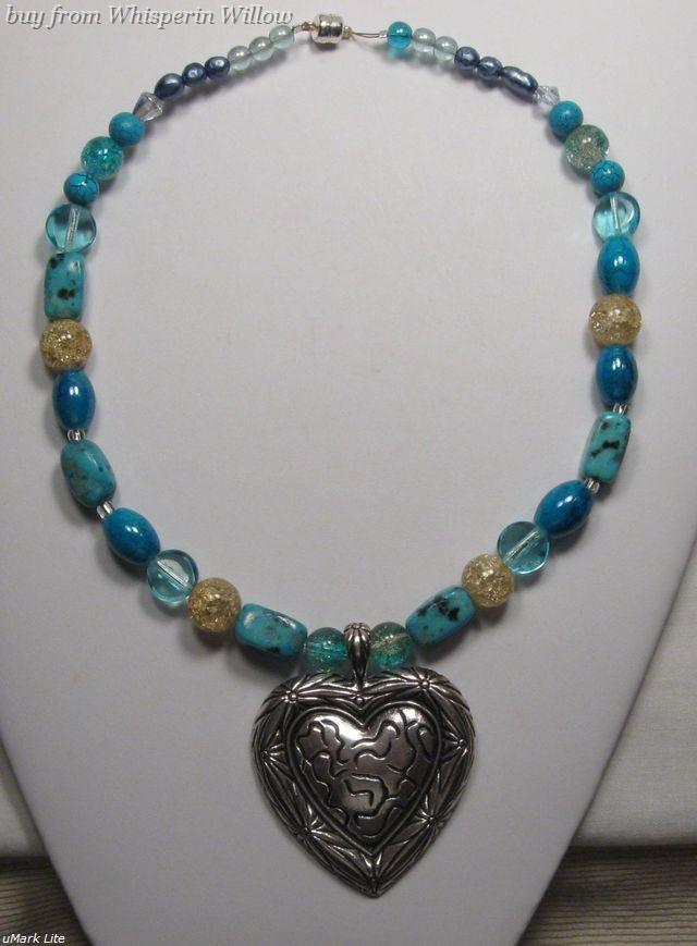 Primary image for Southwestern Antiqued Silver Heart Necklace with Turquoise