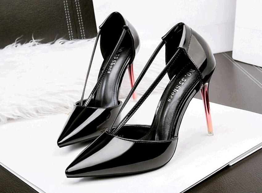 PS391 elegant candy color pointy sandals, V-strap, Size 4-8.5, black