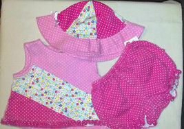 CUTE Girl's Size 6 M 3-6 Months 3 Piece Pink Floral Ruffled Outfit Little Me - $20.00