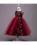 Burgundy Tulle Embroidery Flower Girl Dresses Pricess Prom Gowns Holiday... - $35.88
