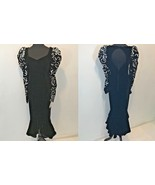 Vintage 1980s Dave & Johnny Velvet Silver Sequin Mermaid Dress size 14 N... - $89.95