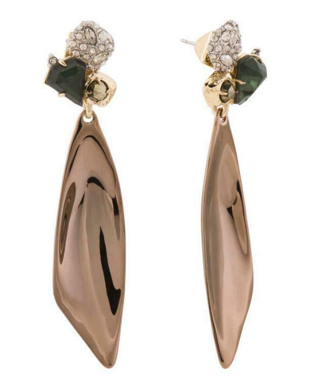 Primary image for NEW AUTH ALEXIS BITTAR ROSE GOLD CRYSTAL SCOOP DROP EARRINGS w/POUCH