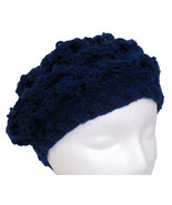 Navy blue hand knit beret with spangles - $22.00