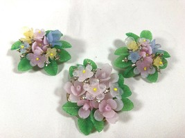 VTG lot Clip on Earrings and Clasp part lucite Flower Cluster gold tone - $28.22