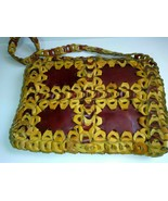Hand tooled Patchwork Woven Boho Pouch Purse Handmade Hippie Tan Brown S... - $147.51