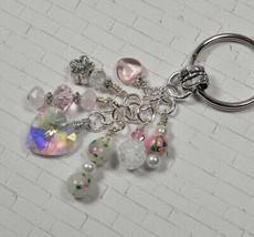 Heart Flower Crystal Beaded Handmade Keychain Split Key Ring White Pink - $16.48