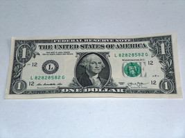 2013 $1 Dollar Bill US Note 3-82 Equals 85 82828582 Fancy Serial Number - $13.78