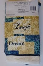 INSPIRATIONS KITCHEN SET 7-pc Towels Potholders Mitt Love Laugh Dream Blue Beige image 3