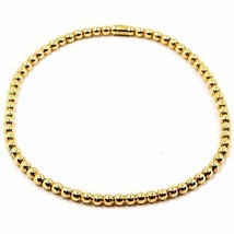 18K YELLOW GOLD BRACELET, SEMIRIGID, ELASTIC, 3 MM SMOOTH BALLS SPHERES - $793.00