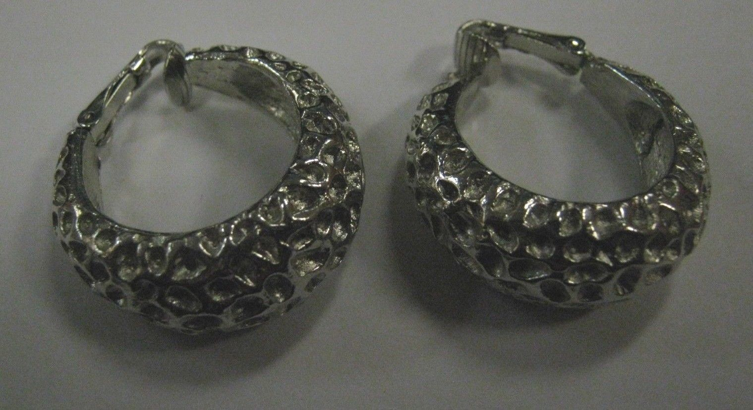 Silver color metal Trifari Clip earrings