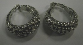 Silver color metal Trifari Clip earrings - $2.96