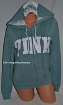 Victoria's Secret PINK Perfect Full Zip Hoodie Sweatshirt White Logo XS NEW - $54.99