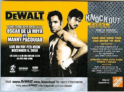Primary image for Oscar De La Hoya Vs. Manny Pacquiao Promo Card