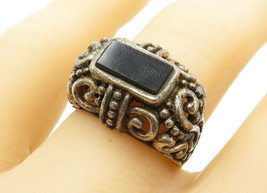 925 Sterling Silver - Vintage Black Onyx Swirl Detail Cocktail Ring Sz 8... - $29.27