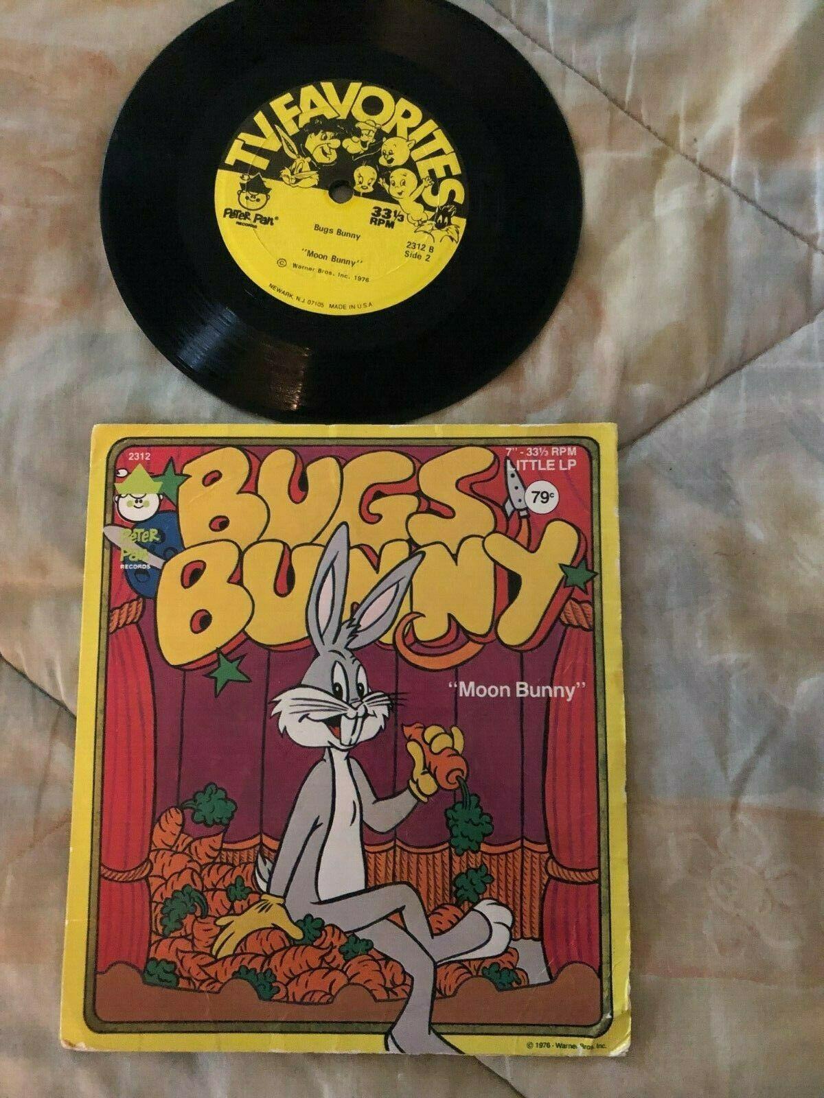 Vintage Bugs Bunny Moon Bunny Vinyle LP 33 RPM Record Peter Pan