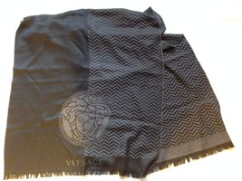 Versace Collection Men's Medusa Head Grey and Black Wool Scarf - $375.00