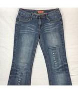 Zana Di Womens Jeans Flare Medium Wash Distressed Fleur De Lis Stretch S... - $33.28
