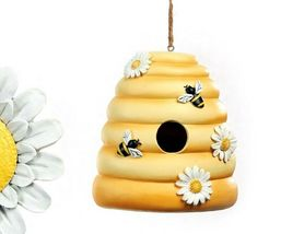 Beehive or Daisy Hanging Birdhouse Poly Stone Yellow & White 2 Choices image 3