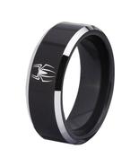 SPIDERMAN Movie Logo Tungsten Carbide Comfort Fit Ring Black - $34.99+