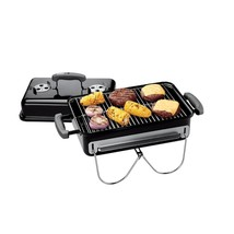 Portable Charcoal Grill with Porcelain Enameled Lid Black Rectangular Ta... - $61.03